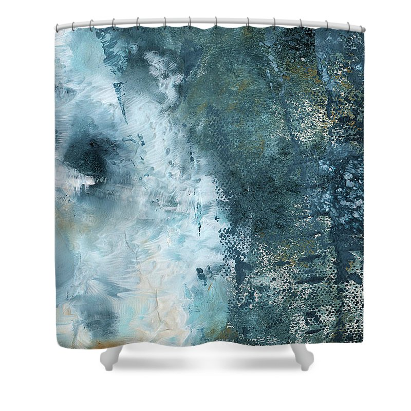 Abstract Shower Curtain featuring the painting Summer Storm- Abstract Art By Linda Woods by Linda Woods