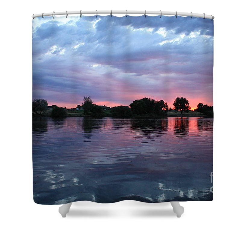 Sunset Shower Curtain featuring the photograph Summer Sunset On Yakima River 4 by Carol Groenen