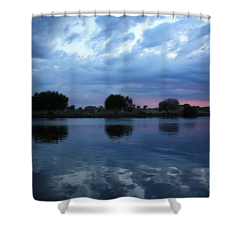 Blue Shower Curtain featuring the photograph Summer Sunset On Yakima River 5 by Carol Groenen