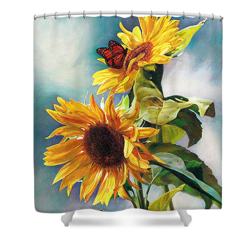 Sunflower Shower Curtain featuring the painting Summer by Svitozar Nenyuk