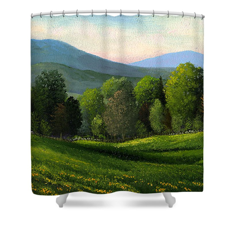 Landscape Shower Curtain featuring the painting Summers Ending by Frank Wilson