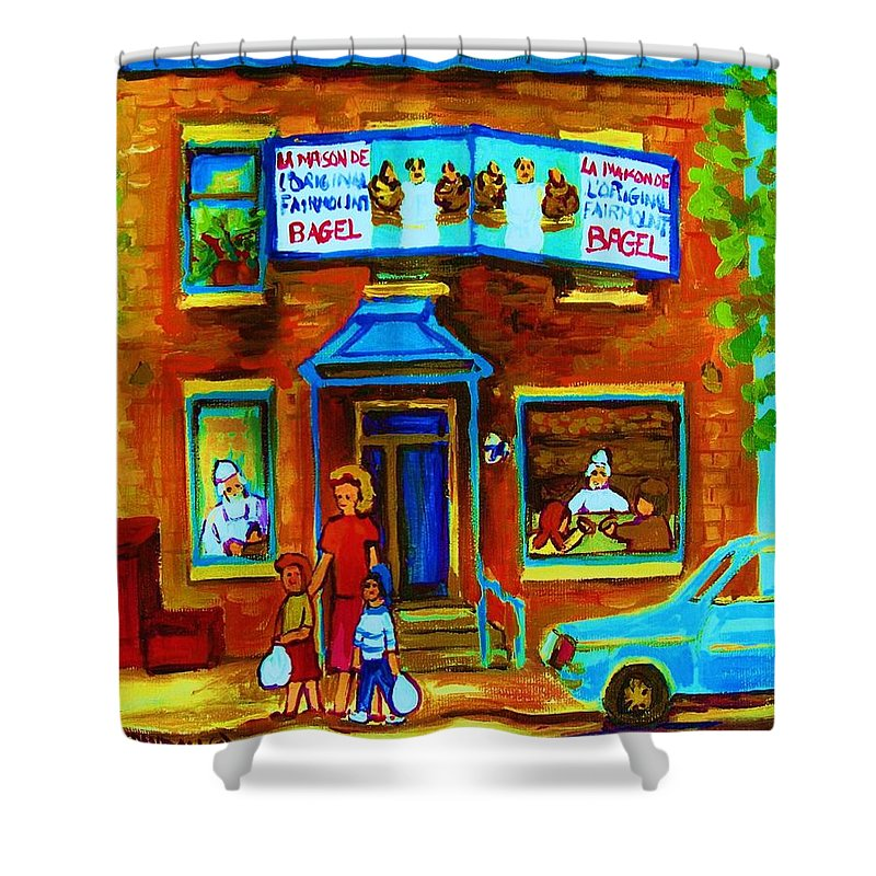 Mom And Tots Shower Curtain featuring the painting Summers With Mom At Fairmount by Carole Spandau