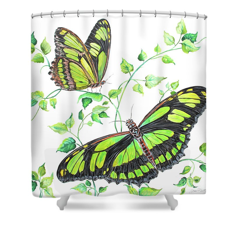Butterfly Shower Curtain featuring the painting Summertime Butterflies D by Jean Plout