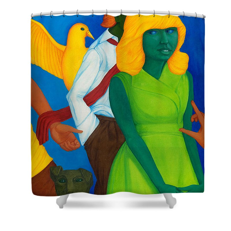 Surreal Shower Curtain featuring the painting Summertime Forgotten Long Ago. by Andrzej Pietal