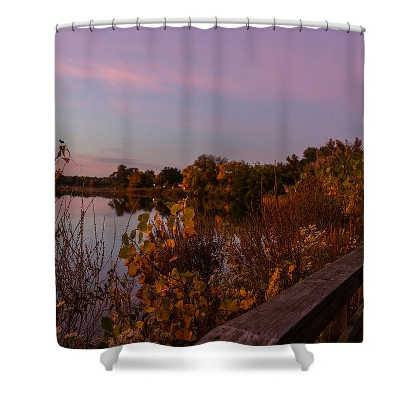 Summit Lake Shower Curtain featuring the photograph Summit Lake Magic Hour by Tim Fitzwater