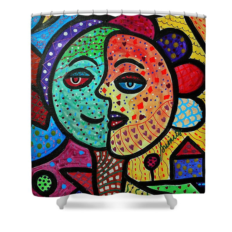Whimsical Shower Curtain Featuring The Painting Sun And Moon Abstract Couple By Pristine Cartera Turkus