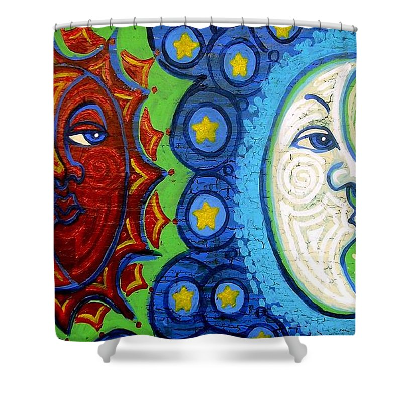 Sun Shower Curtain featuring the painting Sun And Moon by Genevieve Esson