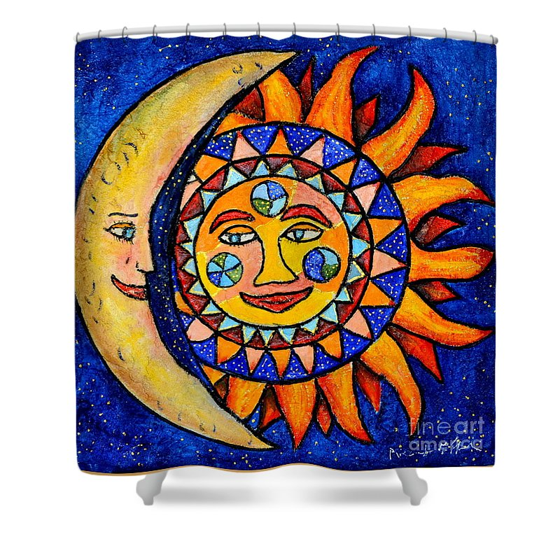 Sun Shower Curtain featuring the painting Sun And Moon by Riccardo Maffioli