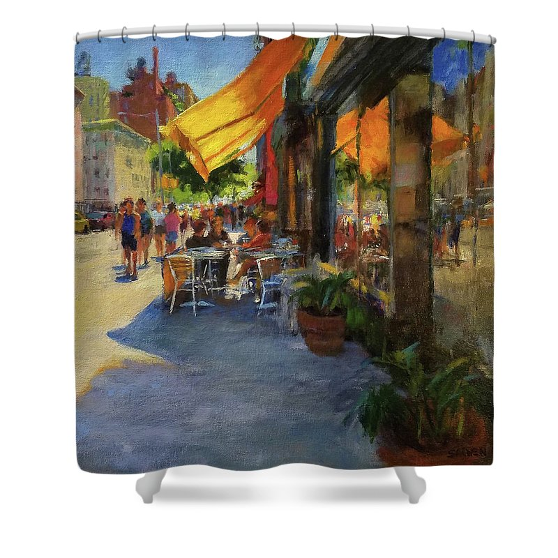 New York Shower Curtain featuring the painting Sun And Shade On Amsterdam Avenue by Peter Salwen
