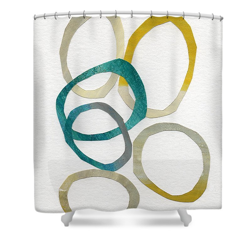 Abstract Art Shower Curtain featuring the mixed media Sun And Sky- Abstract Art by Linda Woods