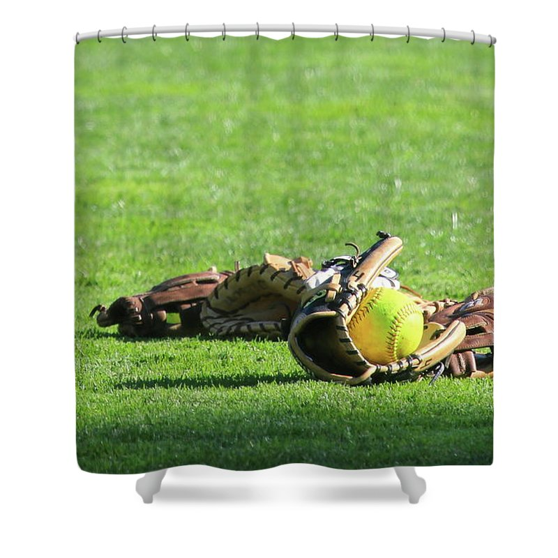 Softball Shower Curtain featuring the photograph Sun Bathing by Laddie Halupa