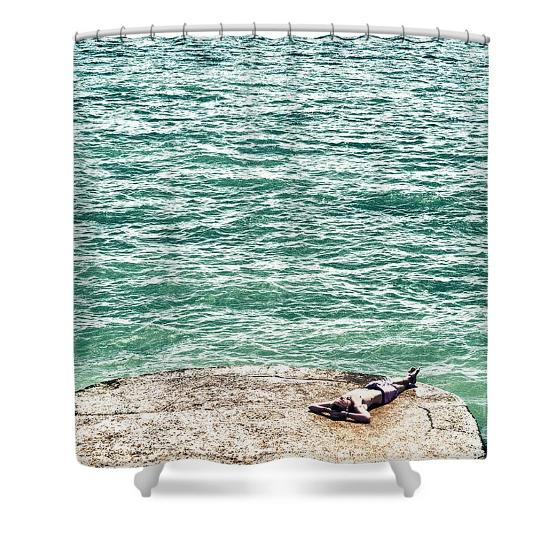 Male Shower Curtain featuring the digital art Sun Bathing by Paul Stevens