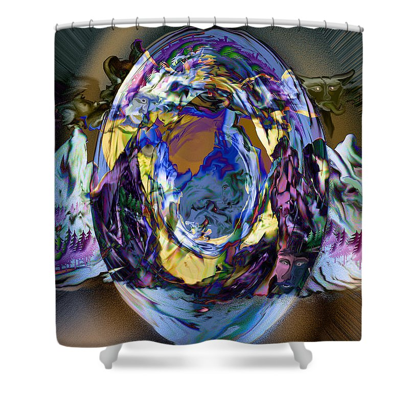 Sun Clouds Faces Mountains Illusion Trees Color People Shower Curtain featuring the digital art Sun Cloud Visions by Andrea Lawrence