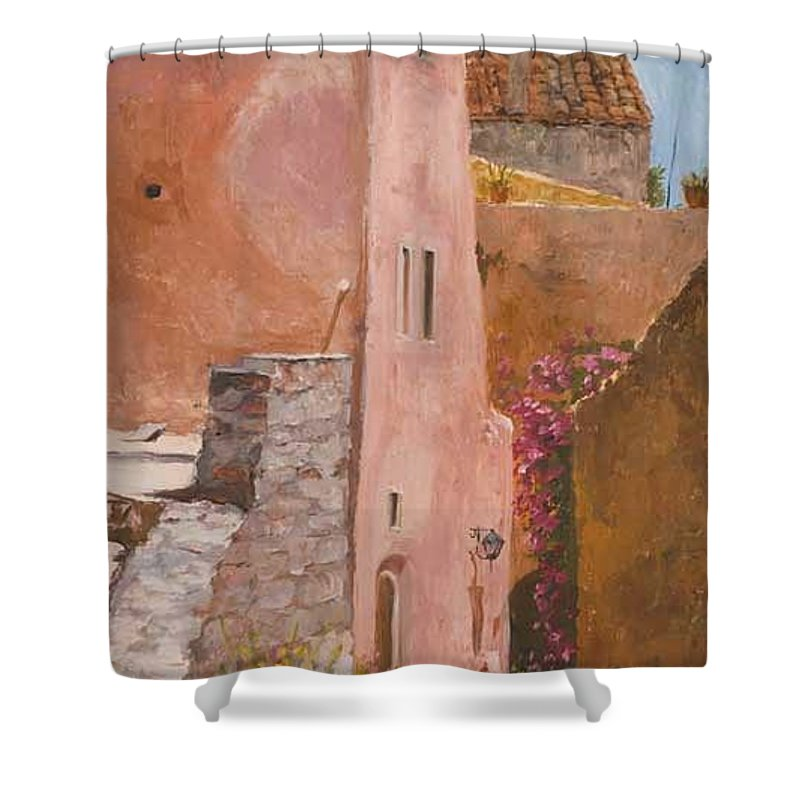 Urban Shower Curtain featuring the painting Sun Drenched by Kit Hevron Mahoney