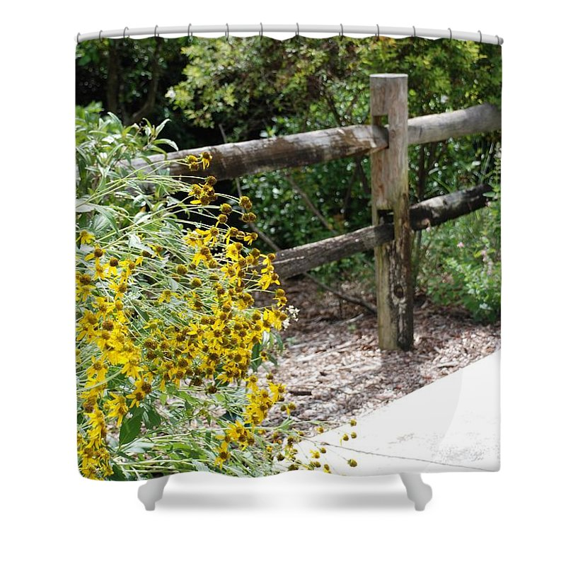 Macro Shower Curtain featuring the photograph Sun Flower Fence by Rob Hans