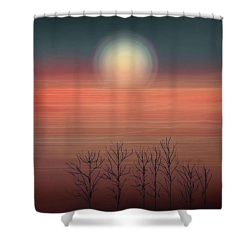 Sunset Shower Curtain featuring the painting Sun Going To Bed by Anne Norskog