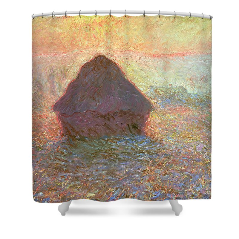 Grainstack Shower Curtain featuring the painting Sun In The Mist by Claude Monet