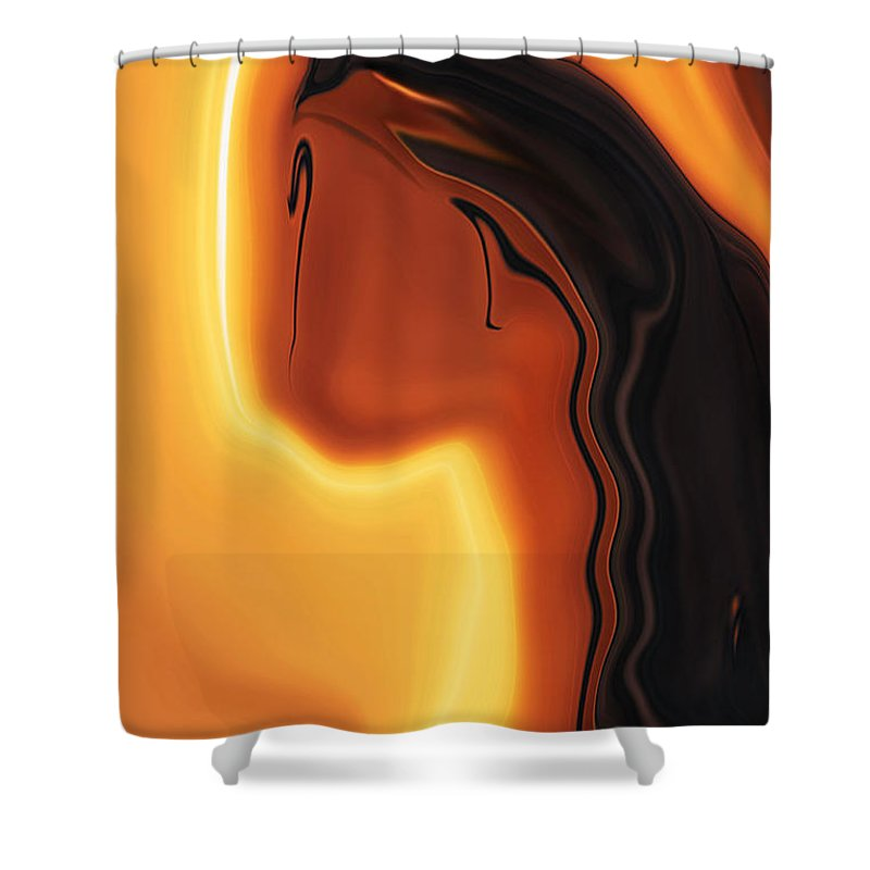Art Black Copper Faminist Feminism Girl Glory Khan Kissed Mother Orrange Rabi Sun Wall Womanhood Wom Shower Curtain featuring the digital art Sun-kissed by Rabi Khan