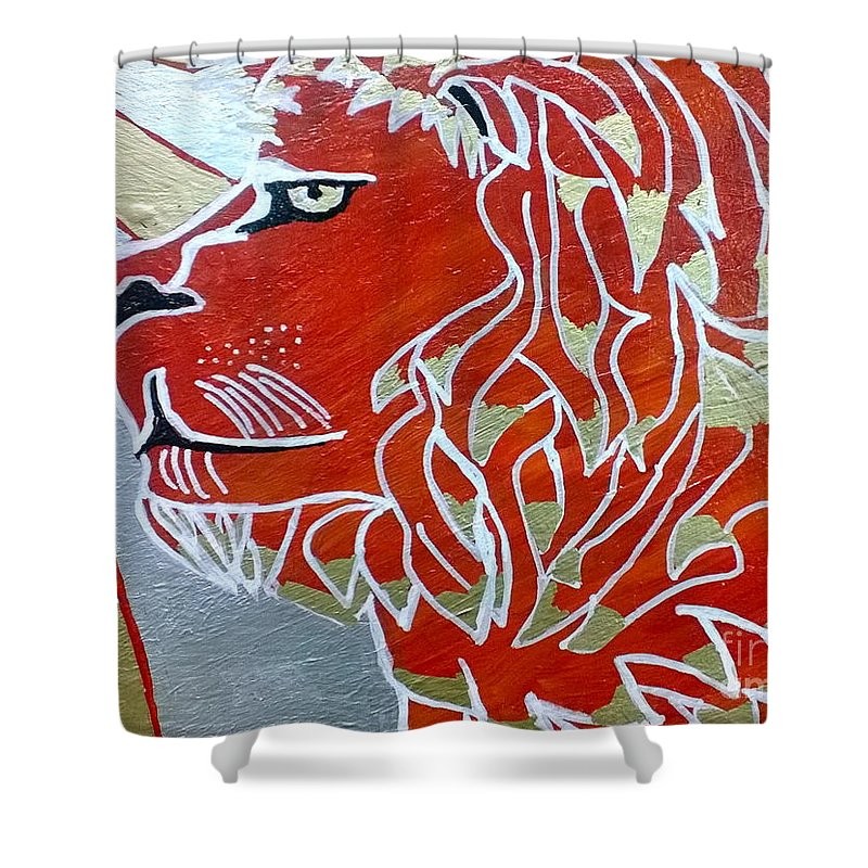 Sun Shower Curtain featuring the painting Sun Lion by Andres Pola