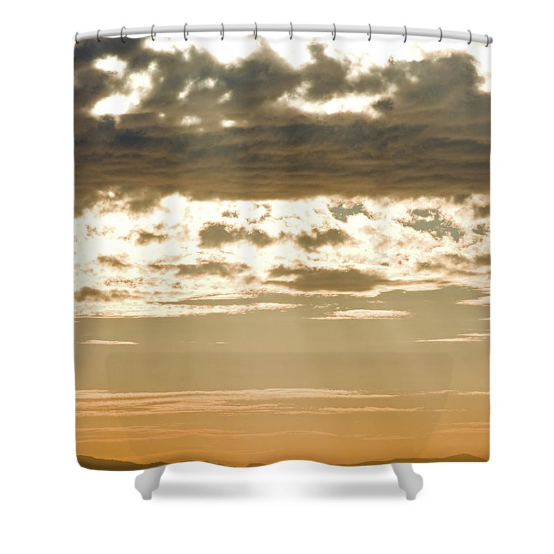 Islands Shower Curtain featuring the photograph Sun Rays And Clouds Over Santa Cruz by Rich Reid