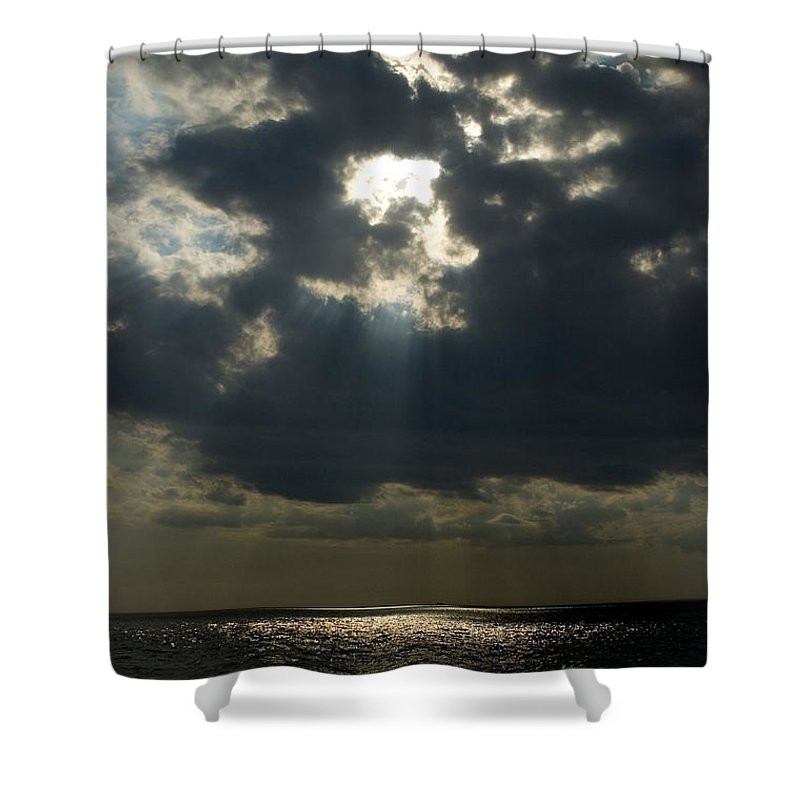 Photography Shower Curtain featuring the photograph Sun Rays Pierce Through Clouds And Rest by Todd Gipstein