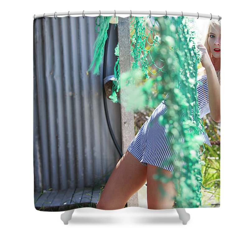 #scoutmeindimodels Shower Curtain featuring the photograph Sun Sand Surf Ondine Magazine Ireland by Bharathan Kangatheran