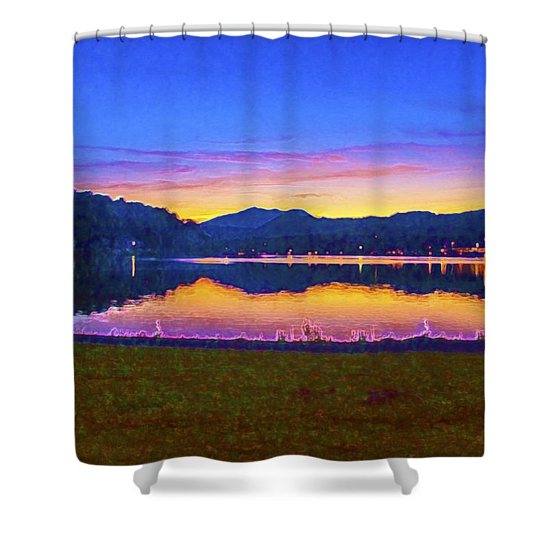 Sun Set On Lake Lure Shower Curtain featuring the digital art Sun Set On Lake Lure by Mark Van Martin