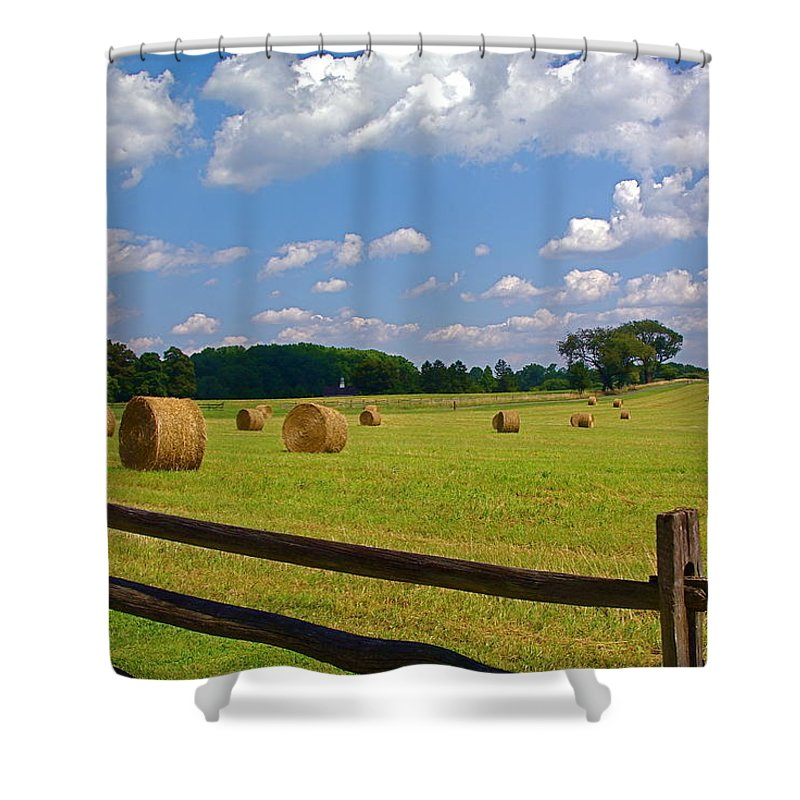 Landscape Shower Curtain featuring the photograph Sun Shone Hay Made by Byron Varvarigos