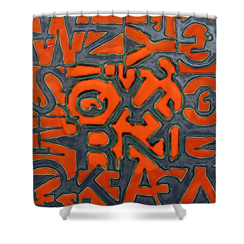Letter Shower Curtain featuring the relief Sun Talk by Jason Messinger