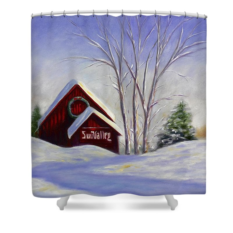 Landscape White Shower Curtain featuring the painting Sun Valley 1 by Shannon Grissom