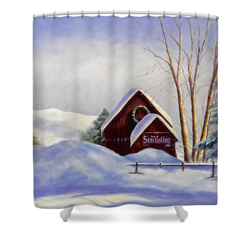 Landscape Shower Curtain featuring the painting Sun Valley 2 by Shannon Grissom