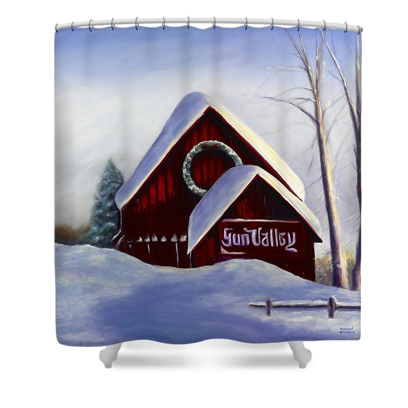 Landscape Shower Curtain featuring the painting Sun Valley 3 by Shannon Grissom