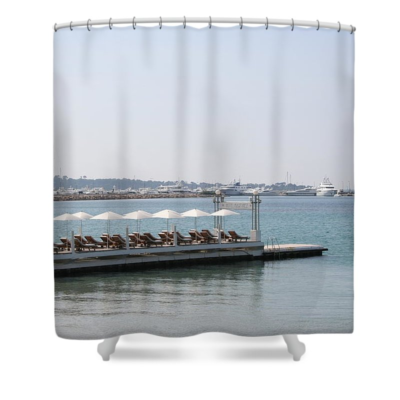 Sunbed Shower Curtain featuring the photograph Sunbathing in a Row by Christiane Schulze Art And Photography