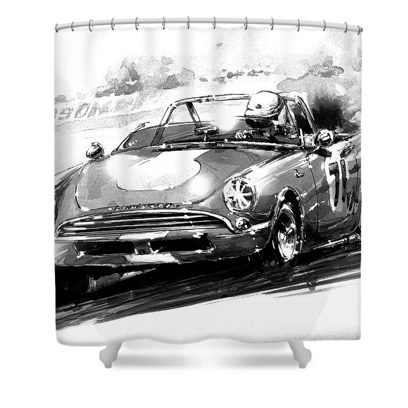 Sunbeam Shower Curtain Featuring The Painting Alpine Race Car By Geoff Latter