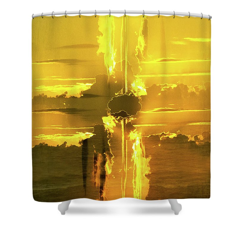 Boca Grande Sunset; Sunburst 2017 Shower Curtain featuring the photograph Sunburst by Thomas Carroll