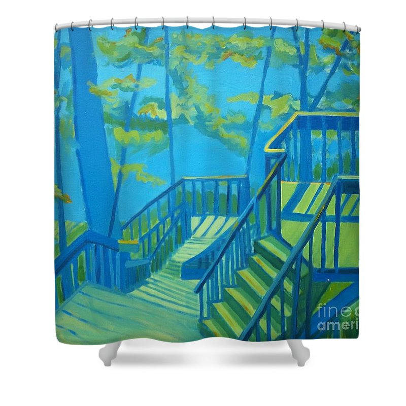 New Hampshire Shower Curtain featuring the painting Suncook Stairwell by Debra Bretton Robinson