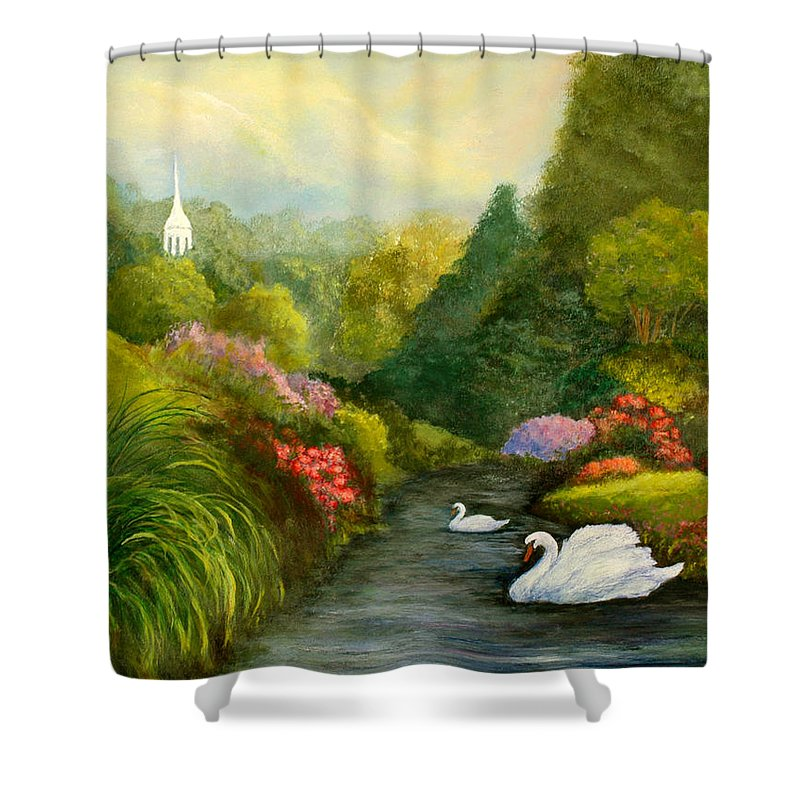 Christian Shower Curtain featuring the painting Sunday Afternoon by Gail Kirtz
