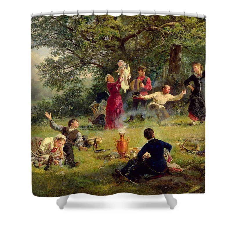 Sunday Shower Curtain featuring the painting Sunday by Alexei Korsuchin