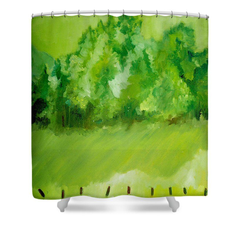Spring Shower Curtain featuring the painting Sunday At Two Thirty by Seth Weaver