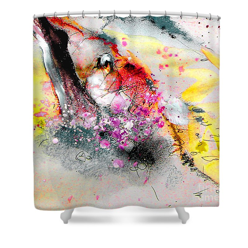 Pastel Painting Shower Curtain featuring the painting Sunday By The Tree by Miki De Goodaboom