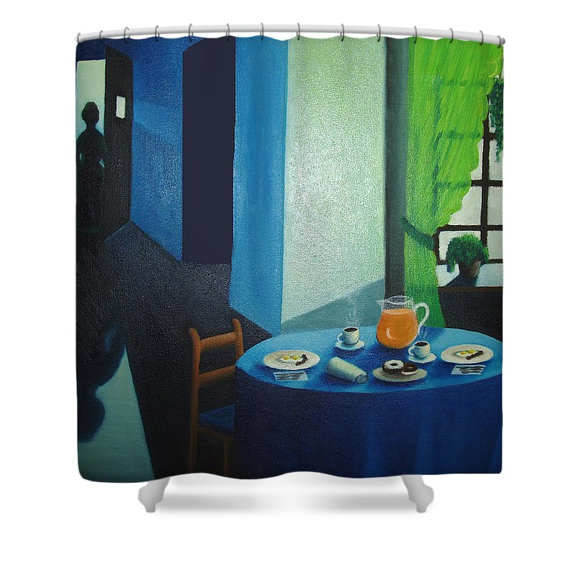 Breakfast Shower Curtain featuring the painting Sunday Morning Breakfast by Nancy Mueller