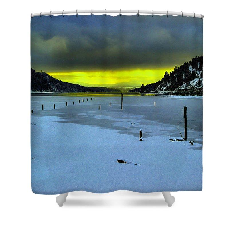 Sun Shower Curtain featuring the photograph Sundown On Lake Shore by Jeff Swan