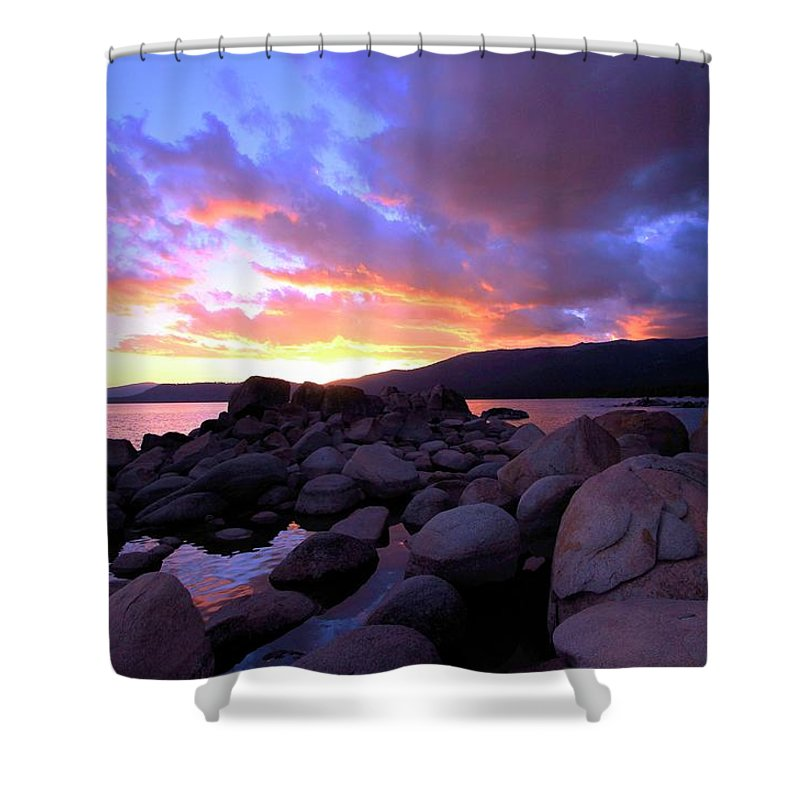 Lake Tahoe Shower Curtain featuring the photograph Sundown On The Rocks by Sean Sarsfield