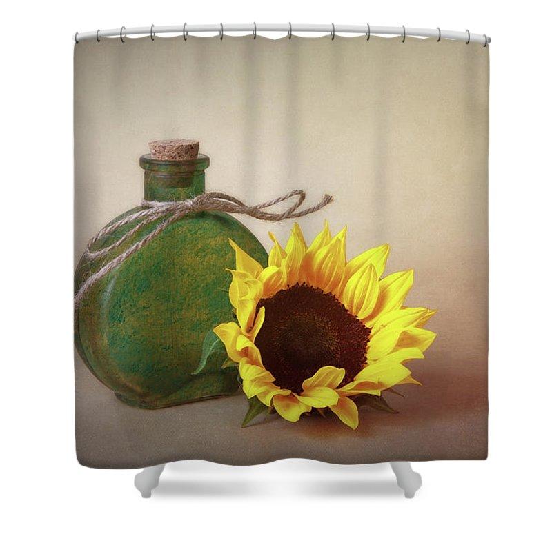 Art Shower Curtain featuring the photograph Sunflower And Green Glass Still Life by Tom Mc Nemar