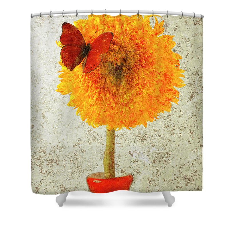 Red Butterfly Sunflower Yellow Abstract Shower Curtain featuring the photograph Sunflower And Red Butterfly by Garry Gay