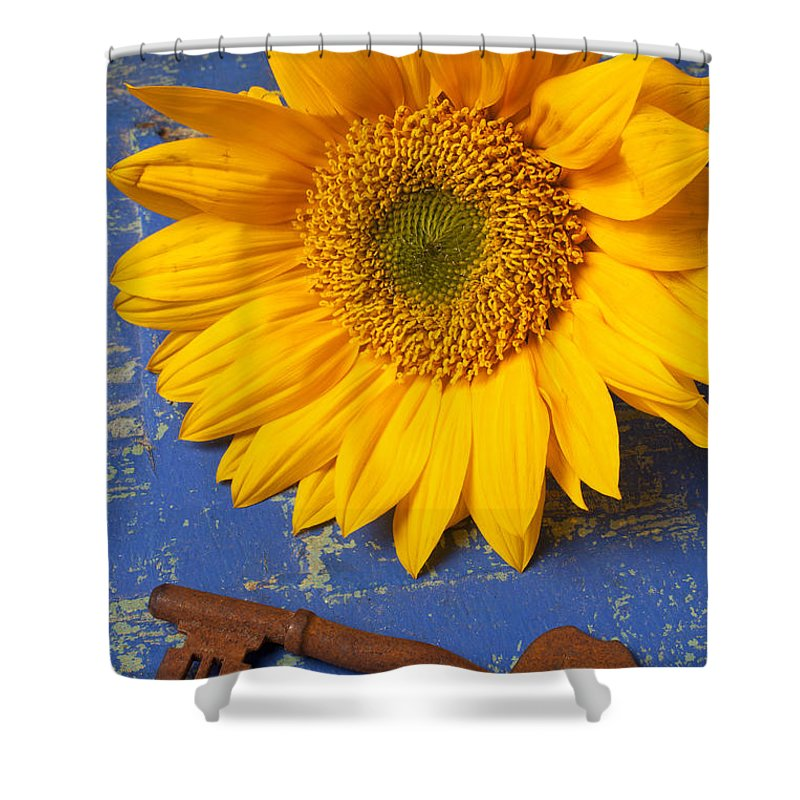 Sunflower Shower Curtain Featuring The Photograph And Skeleton Key By Garry Gay
