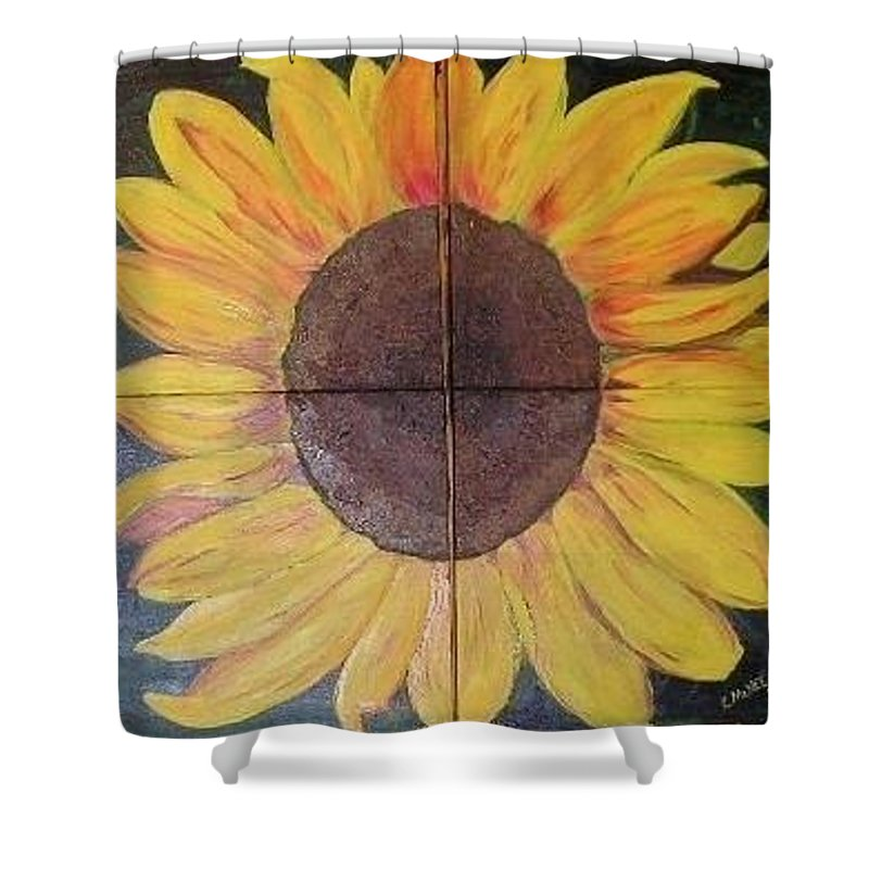 Sunflower Shower Curtain featuring the painting Sunflower by Christina McNee-Geiger