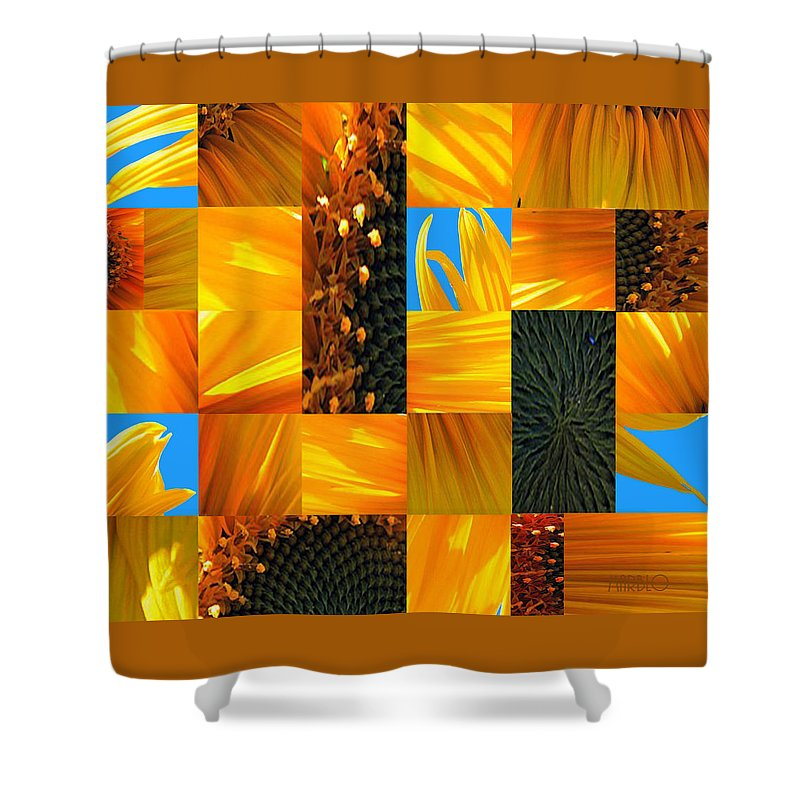 Sunflower Shower Curtain featuring the photograph Sunflower Cut-up by Tommy Marblo