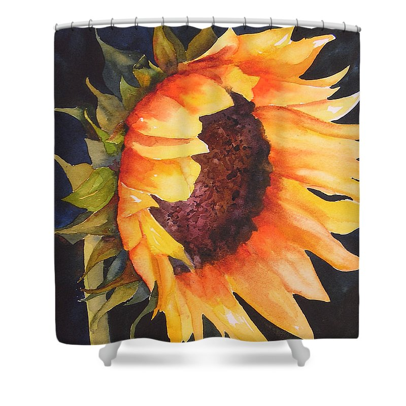 Floral Shower Curtain featuring the painting Sunflower by Karen Stark