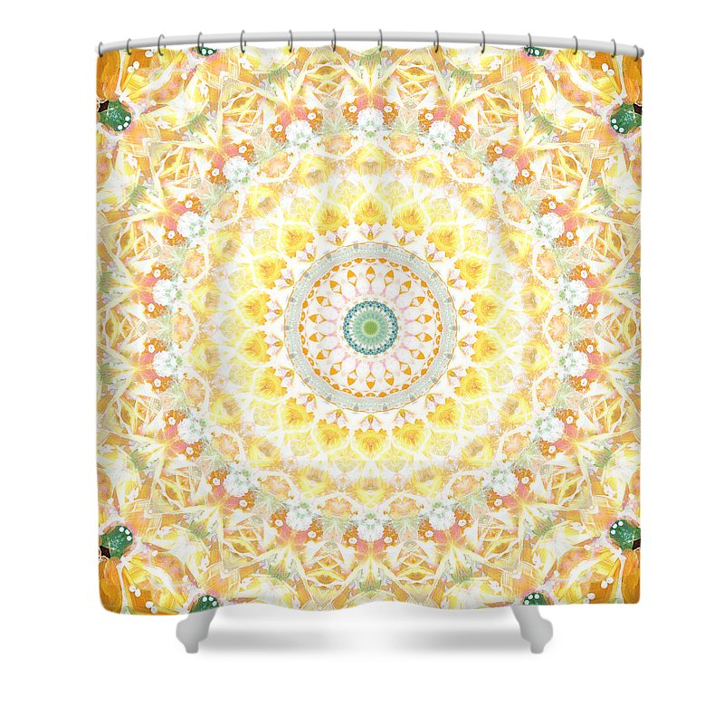 Sunflower Shower Curtain Featuring The Painting Mandala Abstract Art By Linda Woods